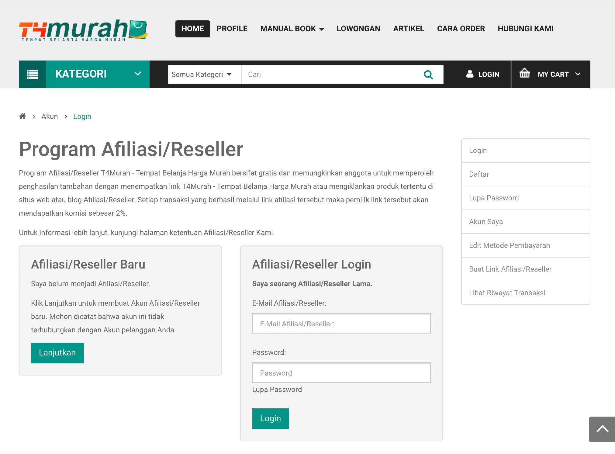 Panduan Pendaftaran Akun Afiliasi / Reseller -Tahap 2