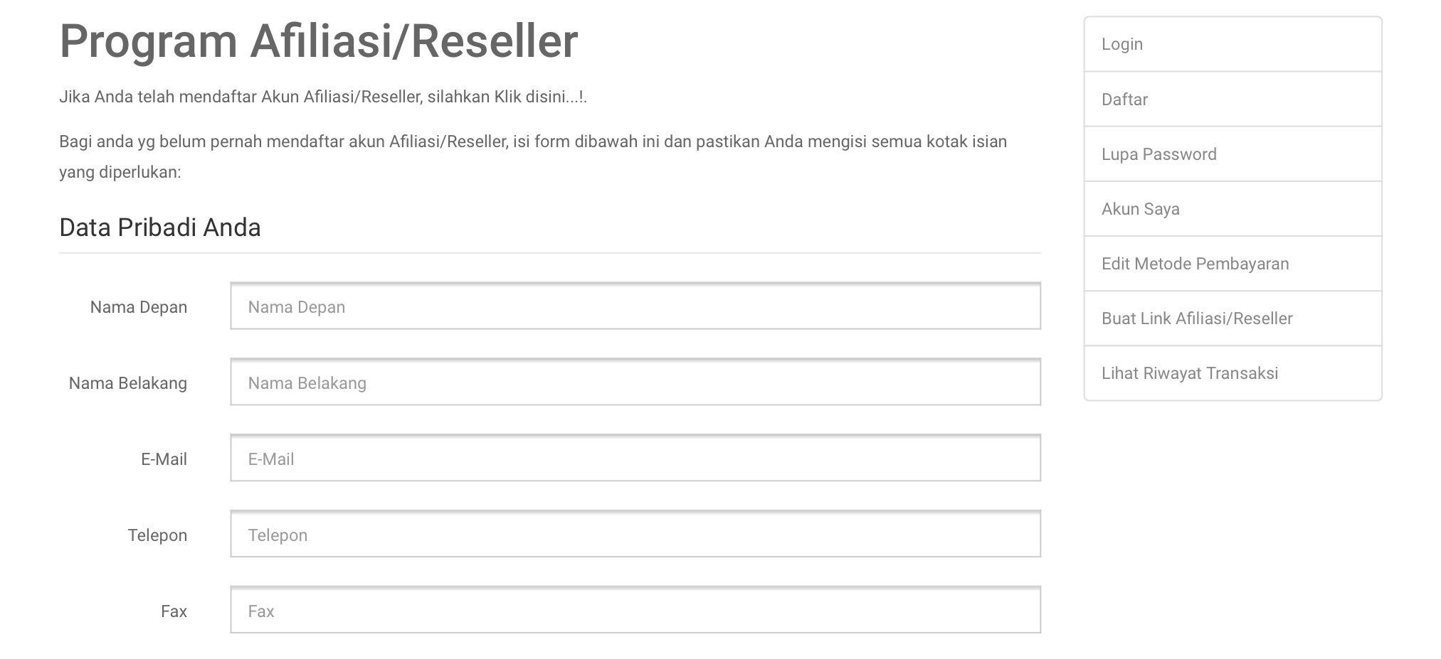 Panduan Pendaftaran Akun Afiliasi / Reseller -Tahap 3